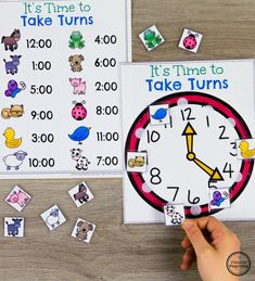 Looking for fun math centers and time and money worksheets? This set is filled with hands-on math activities to practice coin recognition, value of money and telling time. Money Activities, Kindergarten Math Activities, Kindergarten Lesson Plans, Fun Math, Preschool, Teaching Time, Teaching Math, Time Games For Kids, English Lessons For Kids