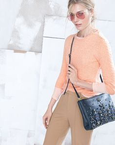 DEC '13 Style Guide: J.Crew Collection mini-cable cashmere, Collection jeweled convertible clutch and the Ray-Ban® original aviator with polarized pink lenses sunglasses.