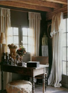 French Country, love the curtains.