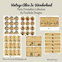 Vintage Alice In Wonderland- Party Printable Collection