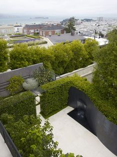 Rooftop Patio with Attractive Black Wall Fountain in San Francisco by Lutsko Associates