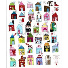 """the little yellow  house with the patchwork roof that says """"joy"""" over the door.  yeah, i want to live in that house. :)"""