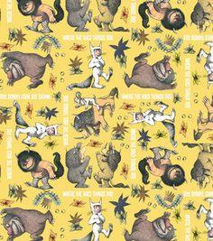 Wo die wilden Kerle wohnen gelb Flanell Gewebe von the Yard jungen Neuheit Kinder Baby Nursery Spaß Handwerk nähen Quilten material