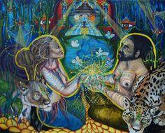 Jaguar rencontre le lion l'art visionnaire la par NayamoonArt