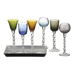This stunning set of etched liqueur glasses feature an elegant ribbon style stem, perfect for adding a touch of colour to your after dinner tipple. Glass Tray, Wine Glass, Liquor Glasses, Glasses Brands, Mothers Day Brunch, Good Spirits, Interior Inspiration, Beautiful Homes, Wedding Gifts