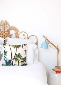 a little bit tropical + a little bit modern // bed styling - bedroom