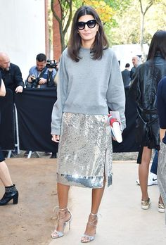 Giovanna Battaglia is seen arriving at Celine Fashion Show during the Paris Fashion Week - Ready To Wear S/S 2016 : Day Six on October 2015 in Paris, France. Look Fashion, Fashion Show, Fashion Outfits, Womens Fashion, Fashion Trends, Paris Fashion, Fashion Weeks, Silver Sequin Skirt, Metallic Skirt