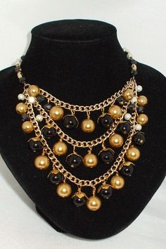Pearl Cluster Necklace in Gold and Black $35 Available in many colours