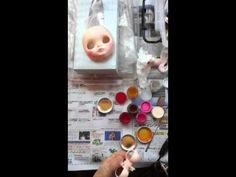 Face-up with Airbrushing and painting Custom blythe by HANON, via YouTube.