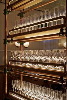 wine glass shelves | back bar design | service station | Upland | L'Observatoire International