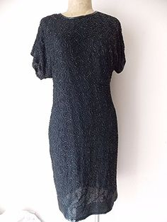 Beaded Holiday Dress Size Small Black Silk Mini Cruise Formal Cocktail Party #Stenay #Shift #Formal