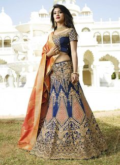 Resham Dupion Silk Lehenga Choli In Navy Blue Model: Blouse Lehenga, Lehenga Indien, Lehenga Choli Online, Silk Lehenga, Silk Dupatta, Designer Bridal Lehenga, Bridal Lehenga Choli, Indian Lehenga, Vestidos