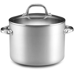 Anolon Stock Pot, Chef Clad 8 Qt. (560 BRL) ❤ liked on Polyvore featuring home, kitchen & dining, cookware, anolon, anolon cookware, anolon pots, anolon stockpot and dishwasher safe cookware