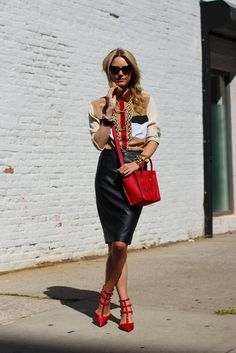 Leather meets pencil skirt for a very grown-up, on-trend work look.