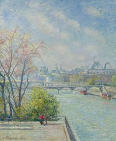The Louvre, Morning, Spring, Camille Pissarro Impressionism Renoir, Monet, Paul Gauguin, Camille Pissarro Paintings, Pont Paris, Art Français, Paris Painting, Gustave Courbet, Georges Seurat