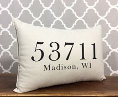 Personalized Zip Code Pillow Custom Zip Code City & by DolceHome Decor Pillows, Decorative Pillows, Bed Pillows, Personalized Pillows, New Home Gifts, Color Blending, Designer Pillow, How To Memorize Things, Things To Sell