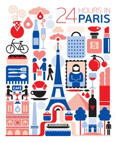 24 hours in Paris, France. Illustration by Fernando Volken Togni