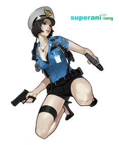 Police Girl, JinWoo Song on ArtStation at https://www.artstation.com/artwork/police-girl