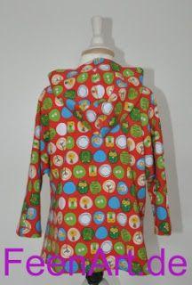 Kinderkapuzenshirt mit türkiser Eule - von hinten