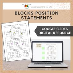 This digitally interactive resource is designed for use with Google Slides. This resource contains 10 slides in total. Answer sheets are included.The student must find the block that matches the statement, and drag the green highlight square to the correct answer.