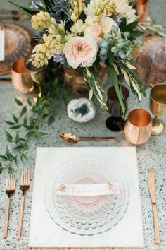 Boho-chic copper table decor: http://www.stylemepretty.com/california-weddings/simi-valley-california/2016/04/26/this-california-inspiration-session-will-teach-you-how-to-make-trends-timeless/ | Photography: Gloria Mesa - http://www.gloriamesa.com/