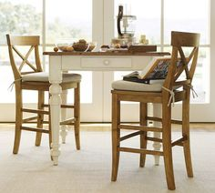 Keaton Square Fixed Counter Height Table - French White | Pottery Barn $699