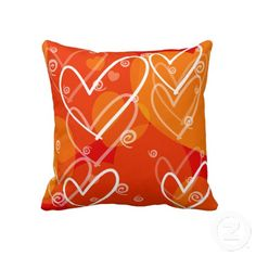 "Hearts background. Throw Pillow 20"" x 20""."