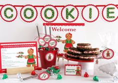 Gingerbread Woman Holiday Cookie Exchange Party DIY printable party kit - Includes custom invitationFrom AmyMillerDesigns