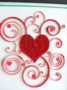 Paper quilled red Heart string art frame for por IvyArtWorks