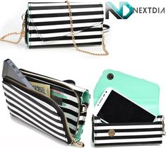 Motorola Droid Bionic XT865 Black and White  Light Turquoise Smartphone Wristlet with Shoulder Strap  NextDia Cable Strap *** Want to know more, click on the image.