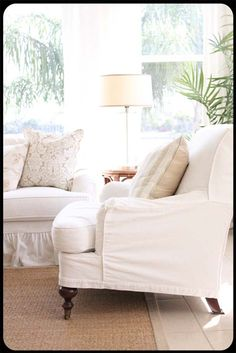 remove skirt from slipcover to show legs and paint legs