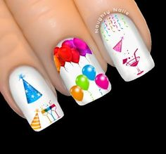 Years Eve Party Nail Water Transfer Decal Sticker Balloon Hats for sale online Birthday Nail Art, Birthday Nail Designs, New Year's Nails, Hair And Nails, Fun Nails, Party Nail Design, Eve Tattoo, Disney Acrylic Nails, Balloon Hat