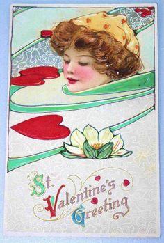 Schmucker Valentine Art Nouveau Postcard..