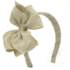 """Mini king soft burlap bow on matching headband.  Don't miss out on the BURLAP TREND! Top off your next outfit with this headband great for any toddler or older girl! Approximate Size: 5.25"""" x 3.5"""" (2 1/4"""" Ribbon)."""
