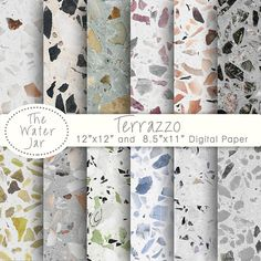 Digital Terrazzo Paper, Terrazzo Pattern for Wallpapers or Backgrounds, Digital Terrazzo Texture Design Resource, Colored Stone Tiles Digital paper Terrazzo Terrazzo pattern for wallpaper or Texture Sol, Texture Design, Bathroom Inspiration, Design Inspiration, Terrazzo Tile, Bathroom Interior Design, Home Design, Wall Decor, Decoration
