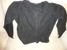 Dialogue Button Front Sweater Top Black Size 1X Wool Women's Clothing find me at www.dandeepop.com