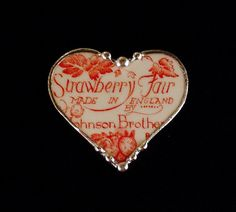 Johnson Bros strawberry fair red toile  broken china heart pin brooch made from a broken plate by Dishfunctional Designs