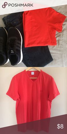 MEN's Armani Exchange V-Neck T-shirt Red/Orange Cotton and spandex, super soft Tee! Worn but in good condition, bundle and save! Armani Exchange Shirts Tees - Short Sleeve