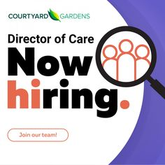We are now hiring a Director of Care at our Courtyard Gardens Retirement Residence in Richmond! 😊 #vrevecares #community #jobserach #careers #jobopportunities #employment Senior Living Communities, Wellness Activities, Courtyard Gardens, Join Our Team, Emergency Response, Common Area, Retirement, Community, Courtyards