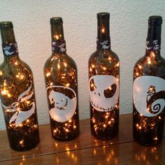 Nightmare Before Christmas Wine Bottle Lights (orange lights) Halloween, Halloween Lights, Halloween Party