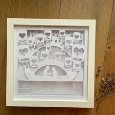Personalised wedding papercut shadow box with LED Light frame Gift Wedding Gifts For Newlyweds, Newlywed Gifts, Shadow Box Art, Shadow Box Frames, Valentines Day Decorations, Diy Wedding Decorations, Engagement Photography Props, Personalized Anniversary Gifts, My Perfect Wedding
