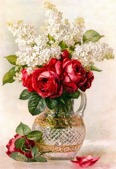 Buy Damask Rose in Vase - Flowers Paint By Number kit or check our new modern collections for adults paint by numbers. Relax and enjoy your canvas painting Art Floral, Vintage Flowers, Vintage Floral, Damask Rose, Illustration Blume, Rose Art, Paint By Number, Diy Flowers, Rose Flowers