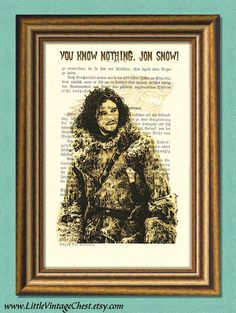 You Know Nothing, JON SNOW! - Game of Thrones Fan Art - Dictionary Art Print by littlevintagechest, $7.99