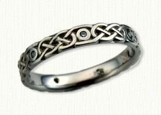Celtic Narrow Murphy Knot Wedding Band with Spaces where bezel set diamonds are set-All Widths & Metals Available