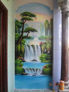 Waterfall Paintings, Scenery Paintings, Disney Paintings, Indian Art Paintings, Nature Paintings, Watercolor Landscape, Landscape Art, Landscape Paintings, Forest Mural