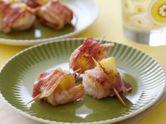 Bacon Wrapped Pineapple Shrimp from FoodNetwork.com. New Year's eve appitizer.