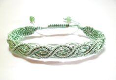 Mint Wavy Rope Macrame Knot Friendship Cord Cuff Bracelet on Etsy, $5.76