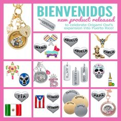 Check out our new collection. The charms are individually hand painted (yes, each one is painted by hand by artisans that love their job). The plates are hand stamped! #origamiowl, #bienvenidos, www.locketsbylala.origamiowl.com