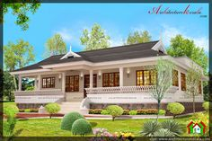 naalukettu style kerala house plan and elevation with nadumuttam and front full verandah three bedroom house plan below 2000 square feet house plan Four Bedroom House Plans, Tree House Plans, Bungalow House Plans, Bungalow House Design, House Front Design, Door Design, Kerala Traditional House, Traditional House Plans, Village House Design