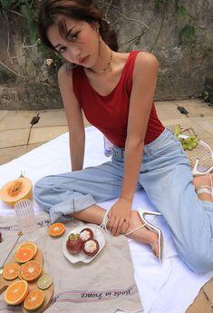 Style Ulzzang, Ulzzang Fashion, Asian Fashion, Girl Fashion, Fashion Outfits, Korean Aesthetic, Summer Aesthetic, Aesthetic Girl, Picnic Photography